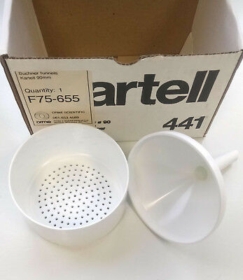 Brand new Kartell two-piece filter funnel, 90mm filter, polypropylene.