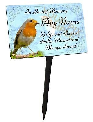 Personalised Memorial Plaque & Stake with Robin Graphic. Aluminium, for garden