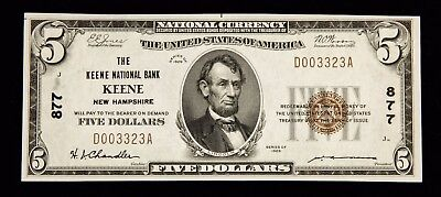 1929 $5 Keene National Bank Of New Hampshire Nh Brown Seal Note - Nice