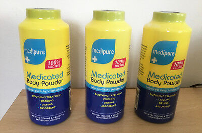3 X Medipure Medicated Body Powder 100% Talc Free Helps Cool Itchy Skin