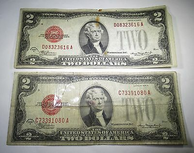 2 1928 U.S. Two Dollar Bills 2 US Paper Note Money Antique Currency Collection