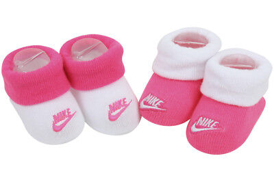 Nike Infant Girl's 2-Pair Futura Contrast Cuff Hyper Pink Booties Set Sz: 0-6 M