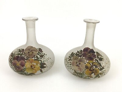 2 Antique frosted glass / hand painted flowers, toilet water bottles 1880's