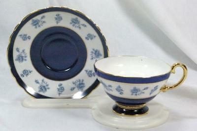 Crown Staffordshire Blue Rose Tea Cup And Saucer Set