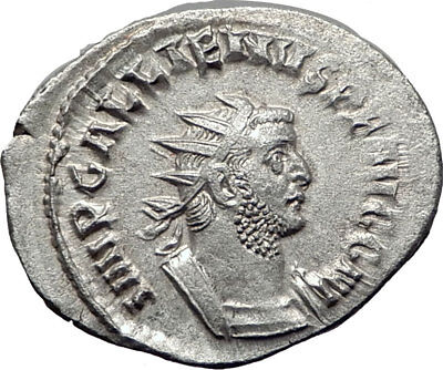GALLIENUS Genuine Rare 257AD Rome Silver Authentic Ancient Roman Coin PAX i65330
