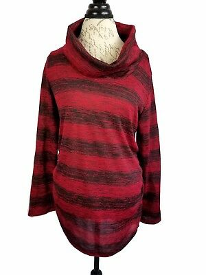 Great Expectations Womens L (12-14) Maternity Shirt Red Black Striped Cowl Neck