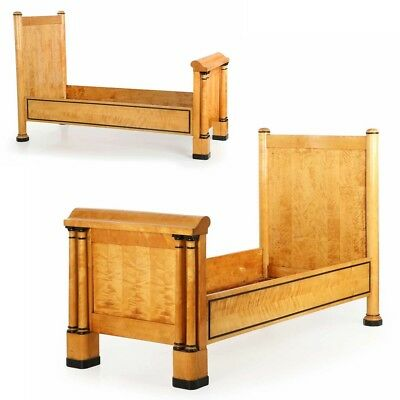 19th Century Pair of Swedish Biedermeier Birch Antique Beds c. 1840