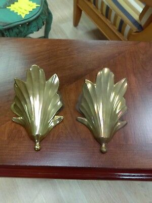 Pair Vintage Art Deco Solid Brass Wall Pockets, Vases, India, Leaf