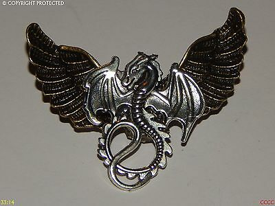 steampunk gothic brooch badge pin owl Harry Potter silver dragon Game of Thrones