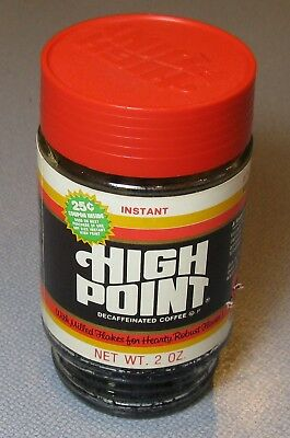 70's Folger's High Point Milled Flakes Coffee 2 Oz Glass Jar 1/4 Full STRIPES