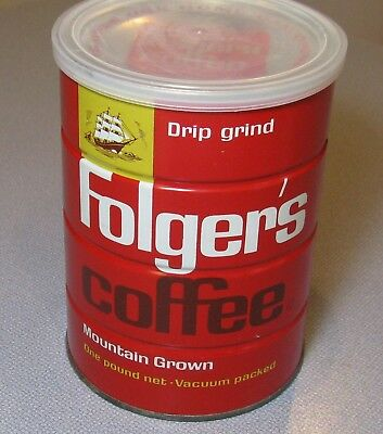 Vtg 1963 Folger's Coffee 16 Oz Can Tin  FULL Sealed + Lid DRIP Grind RED SQUARE