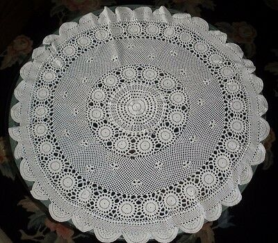 """Round White Hand Crocheted Centerpiece Large 32"""" Doily With 1 Imperfection"""