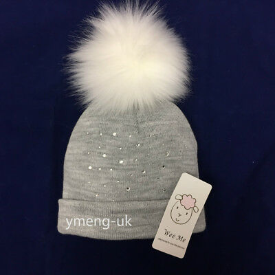 Wee Me Stunning Baby Grey Fur Pompom Hat with Diamantes /Faux Fur Pom