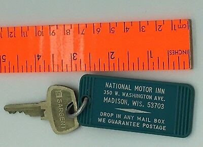 Vtg National Motor Inn Madison WI Room 209 Return Postage Hotel Room Key and Fob