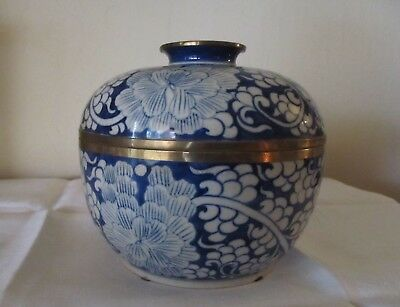 Antique Chinese blue and white porcelain covered bowl with brass Ming Yongle