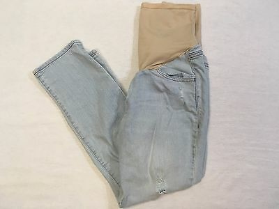 Old Navy Light Wash MATERNITY Cropped Jeans Smooth Panel Factory Distress Sz 8