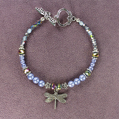 DRAGONFLY TOTEM BRACELET Blue Tibetan Silver Crystals Beads Insect Flowers