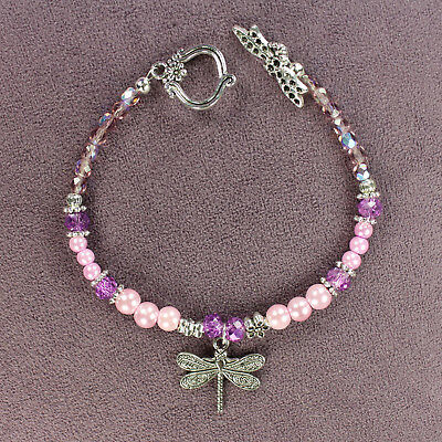 DRAGONFLY TOTEM BRACELET Pink Purple Tibetan Silver Crystals Beads Insect Flower