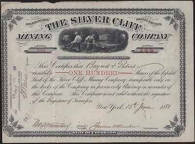THE SILVER CLIFF MINING CO Stock Certificate 1881 Hardscrabble District Colorado