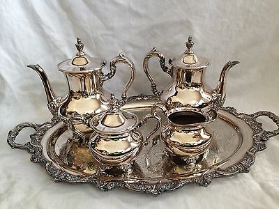 Poole Silver Co Silverplate Tray & 5 Piece Coffee & Tea Service Set-Old English