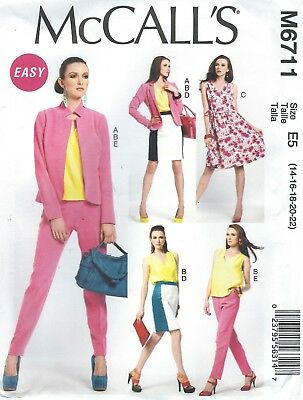 McCall's 6711 Misses' Jacket, Top, Dress, Skirt & Pants   Sewing Pattern