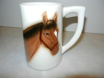 Vtg Hand Painted Horse Head Pottery Art Mug 5 in