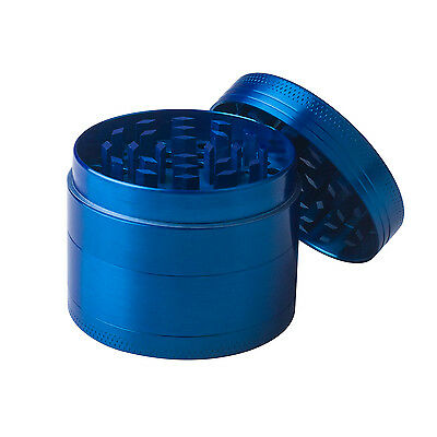 Blue 4 Layers Metal Hand Muller Herb Spice Tobacco Grinder Crusher