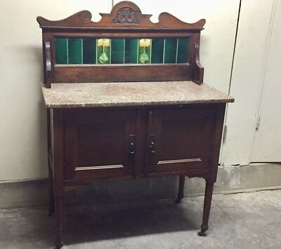 Antique 1930's Victorian Wash Stand with tile