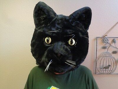 NEW Large CAT Head Furry Black Ventilated Mask Cosplay / Costume FREE SHIP & NEW LARGE CAT Head Furry Black Ventilated Mask Cosplay / Costume ...