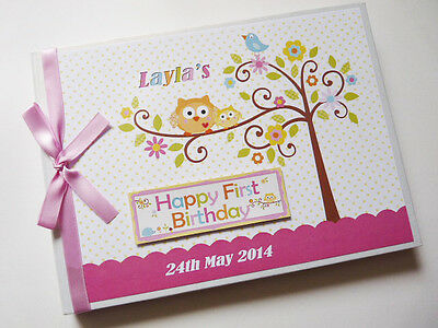 Personalised Happi Tree (Pink) Baby Shower Boy/girl Guest Book - Any Design
