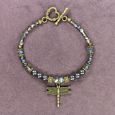 DRAGONFLY TOTEM BRACELET Teal Green Bronze Crystals Beads Insect Flowers Heart