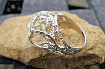 Vintage Sterling Silver Abstract Ring Wow!    Gorgeous!