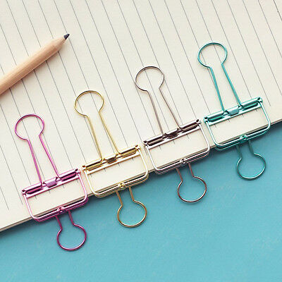 Cute Colorful Pierced Metal Binder Paper Clips Office Learning Office  New.