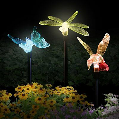 Solaration 1004B Hummingbird Butterfly Dragonfly Solar Garden Stake Lights