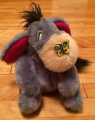 Disney Store Talking Mechanical Eeyore with Butterfly Plush 10""