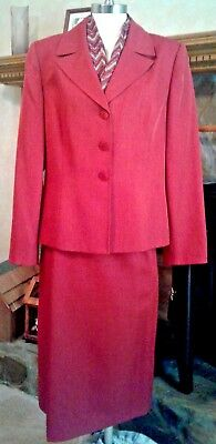Le Suit Ladies 2Pc Long Sleeve Fully Lined Skirt Suit Sz. 14 Sienna Polyester