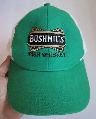 Bushmills Irish Whiskey Snapback Hat Cap 100% Cotton/mesh, Green & White, Vg!