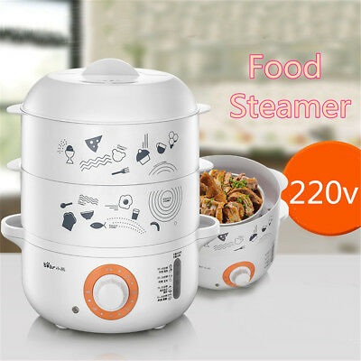 Electric Food Steamer Stainless Steel 4L 3 Tier Cooker Meal Vegetable Timer