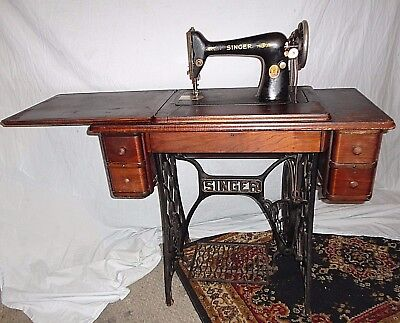 SINGER Antique Treadle Sewing Machine with Cabinet Table Industrial Iron Wood