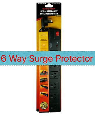 New 6 Way Surge Protected Power Board - 6 Outlets With Master On / Off Switch
