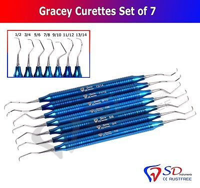 Titanium Coated Dental Gracey Curettes Set of 7 Periodontal Scaler Calculus NEW
