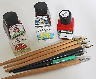W&N Canary Yellow+ Scarlet, Matisse INKS & 6 Dip PENS Calligraphy DRAWING RP$160
