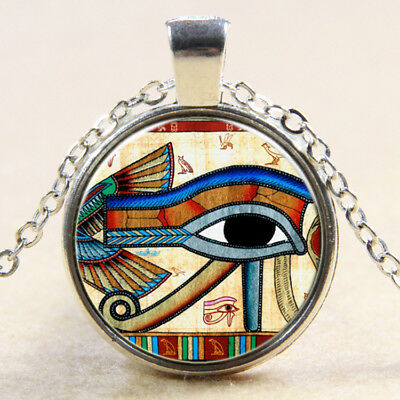 Hot Egyptian Eye of Horus Ra Udjat Glass Art Pendant Chain Amulet Pagan Necklace