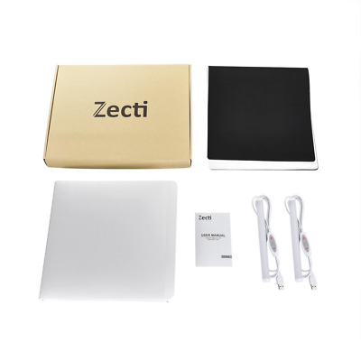 Zecti Dimmable Studio Light Box, 30x30cm Portable Photo Tent with 2 Adjustable L