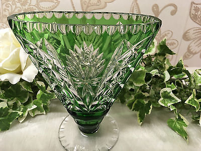 Beautiful Vintage Czech Bohemian Emerald Green Crystal Cut Glass Long Vase
