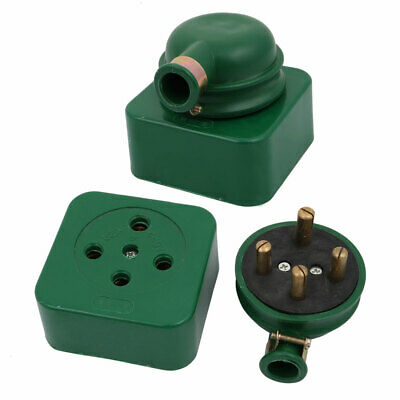 2 Pcs AC 440V 32A Three Phase Four Wire 3P 4W Industrial Socket Set Green