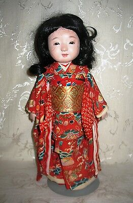 """Antique 13 1/2"""" Asian Female Doll in Traditional Dress"""