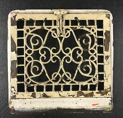 """Reclaimed Victorian Heat Vent, Rustic Iron Floral Pattern 13""""x14"""