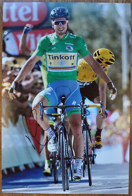 ed5136891 Peter Sagan Signed 12X18 inches 2016 Tour De France Green Jersey Photo -  Proof