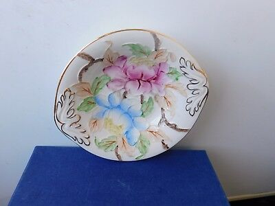 "Maling Tube Lined Lustre  Oval Pin Dish  Pink & Blue. Peonies. 5.1/2""  Mint.rare"